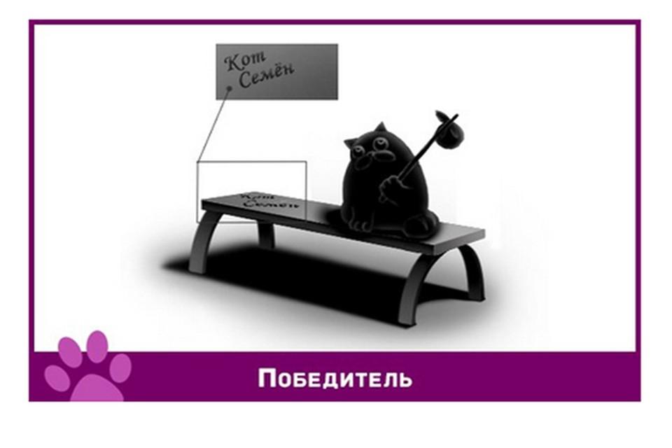 Кот Семен будет сидеть на скамейке с кульком на палке и грустить по дому.