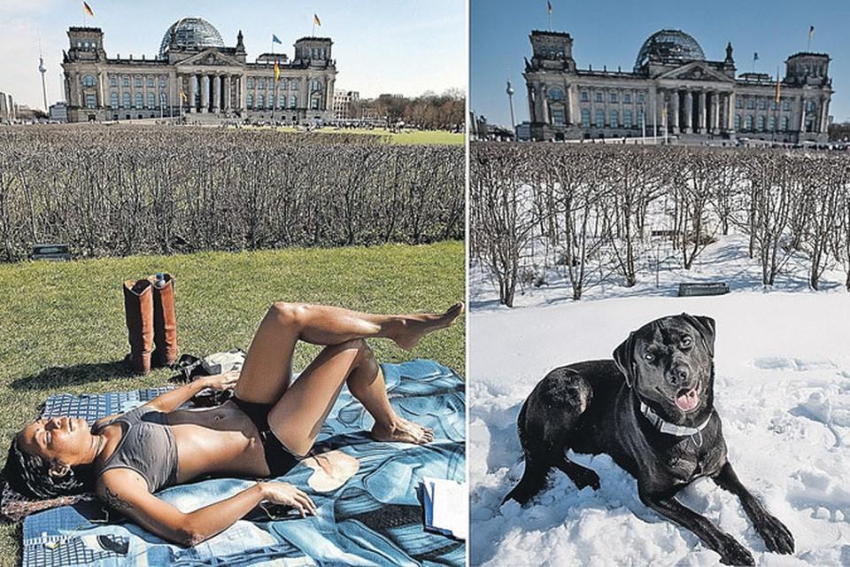 Обе фотографии сделаны в Берлине 24 марта. Стоит ли говорить, какая - прошлого года, а какая - нынешнего?..