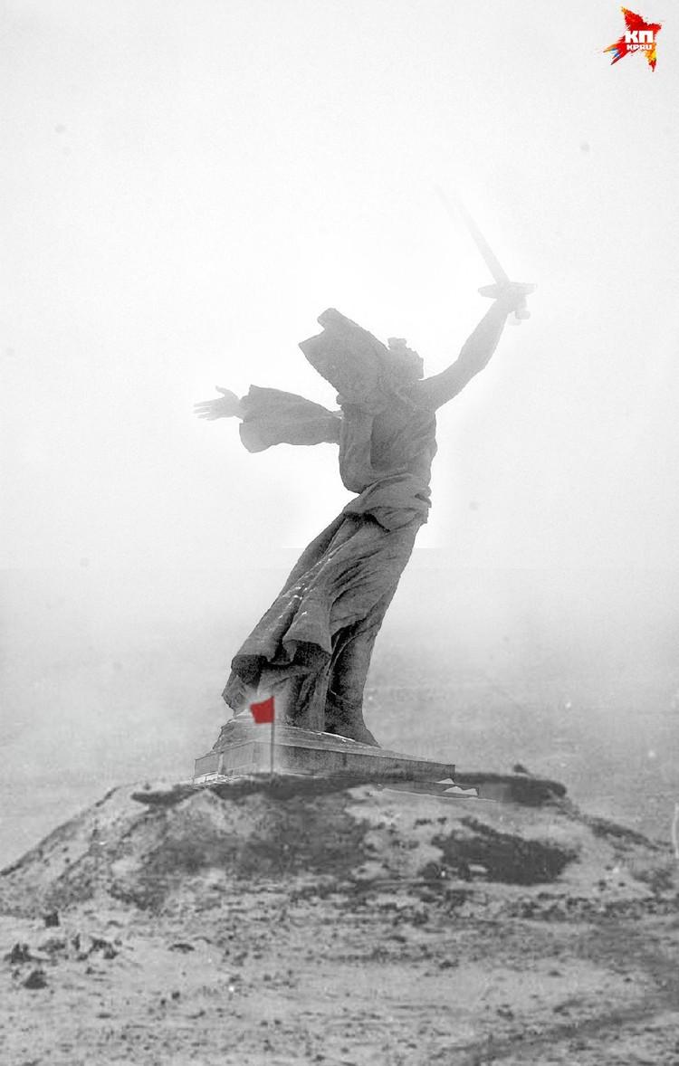 Красный флаг, установленный бойцами Сталинградского фронта на вершине Мамаева кургана. Сталинград, январь 1943 год. Коллаж Марии Сергеевой