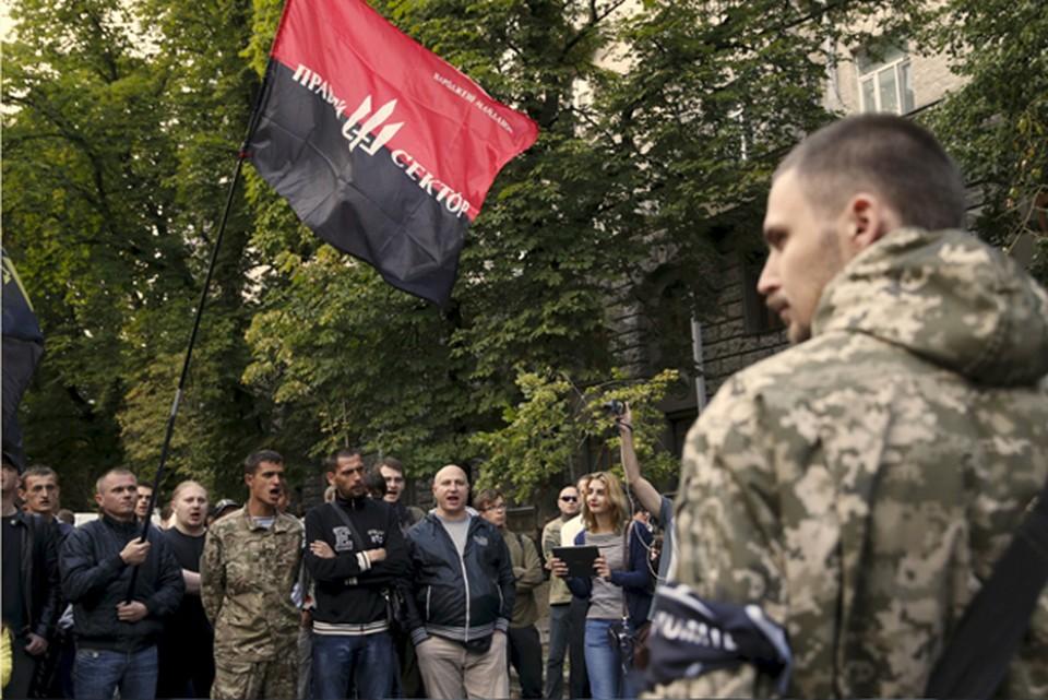 радикальное движение украинских националистов на своем сайте объявило о полной мобилизации всех своих членов и призвало их блокировать администрацию Президента Украины Петра Порошенко