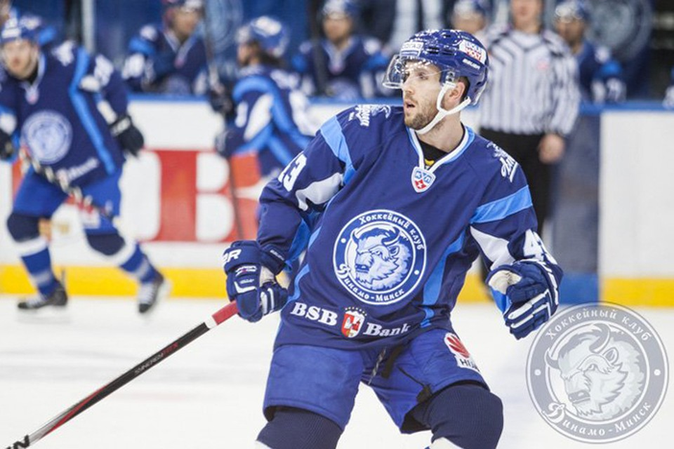 Американский хоккеист минского «Динамо» Райан Гундерсон. Фото: testing.hcdinamo.by