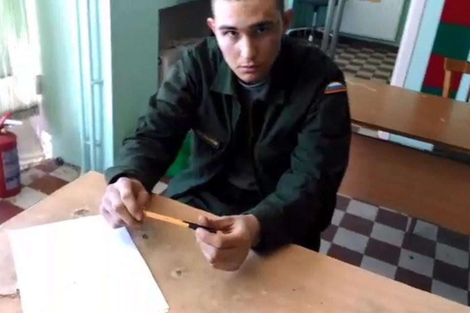 Давид Зиганшин - солдат срочник из Ульяновской области. Фото: стоп кадр с допроса погранслужбы.