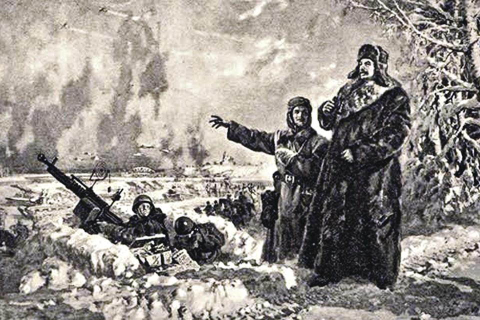«Сталин на фронте». Картина в стиле соцреализма. На самом деле на передовой Верховный главнокомандующий никогда не был. Фото: Картина П. Соколова-Скаля