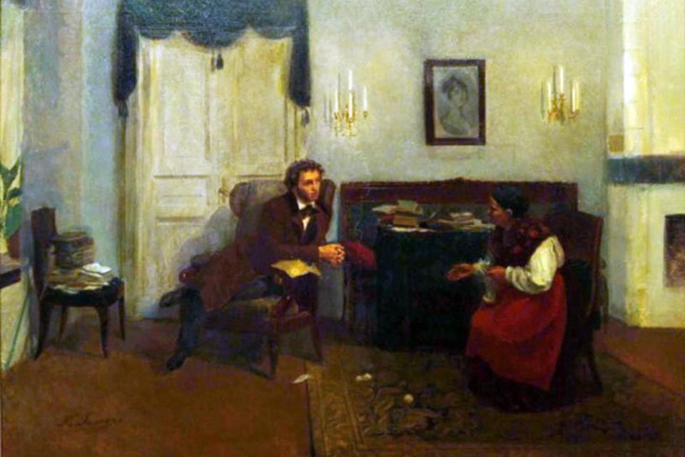 П.И. Геллер. Пушкин и няня. 1891.