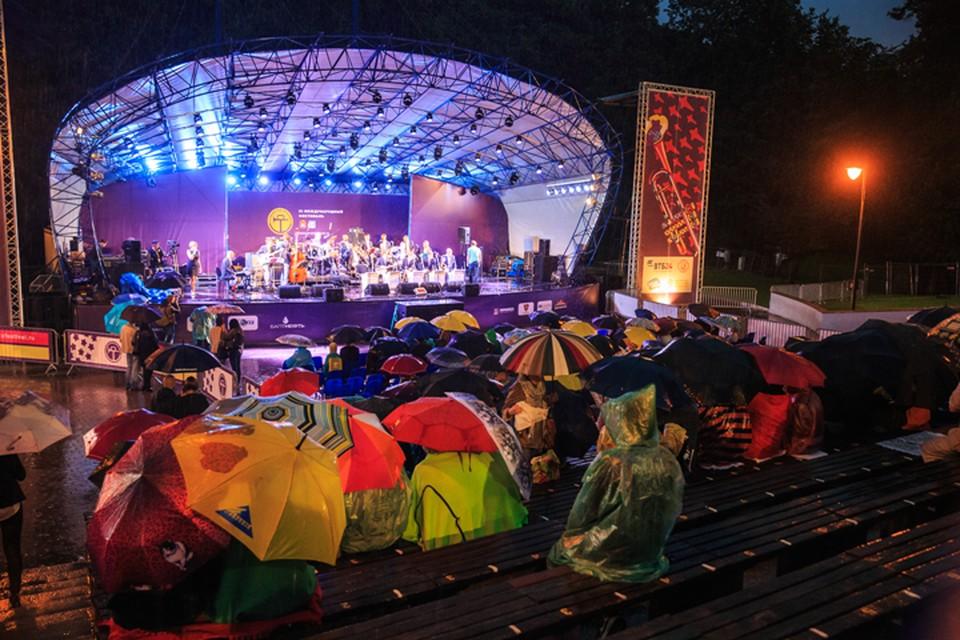 Певческое поле расцветилось красочными зонтиками и яркими дождевиками
