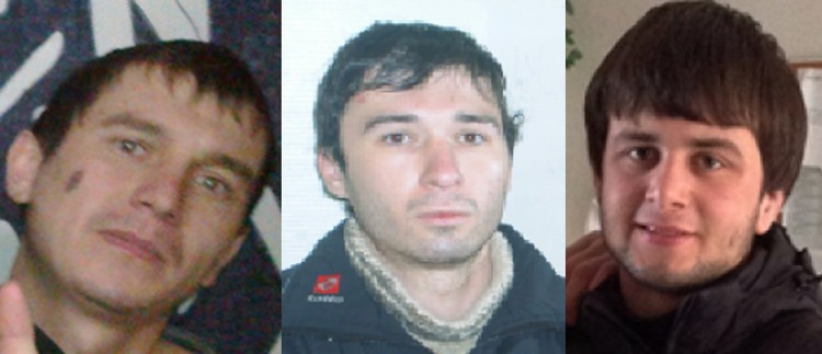 Слева направо: Ныров, Шебзухов, Шериев. Фото: пресс-служба УМВД по Петербургу
