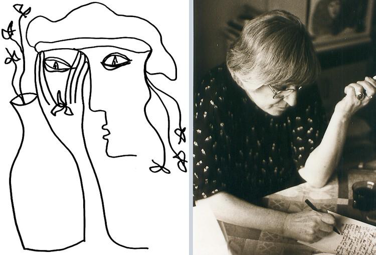 Рисунок поэтессы Юнны Мориц и снимок из личного архива.