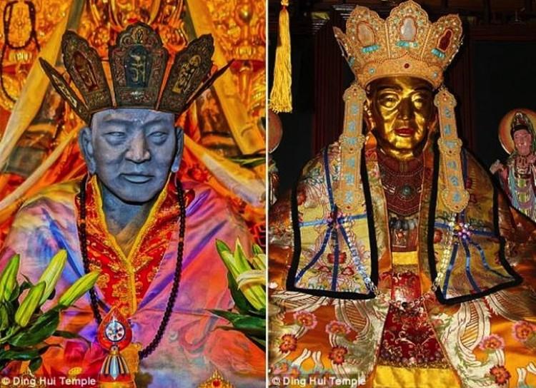 Слева: так мумия выглядела раньше, справа: теперь она такая - позолоченная.