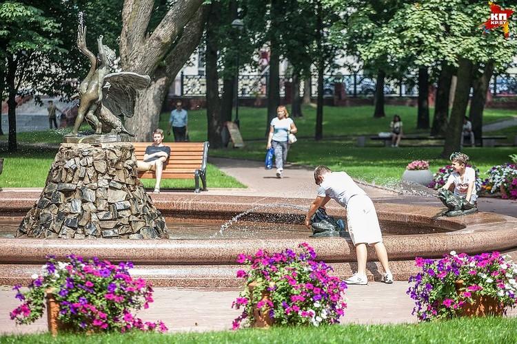 Лягушки на фонтане «Мальчик с лебедем»