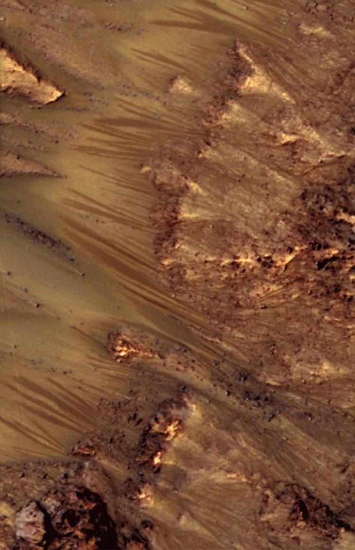 Потоки с марсианских гор: считалось, что течет грязная и очень соленая вода.