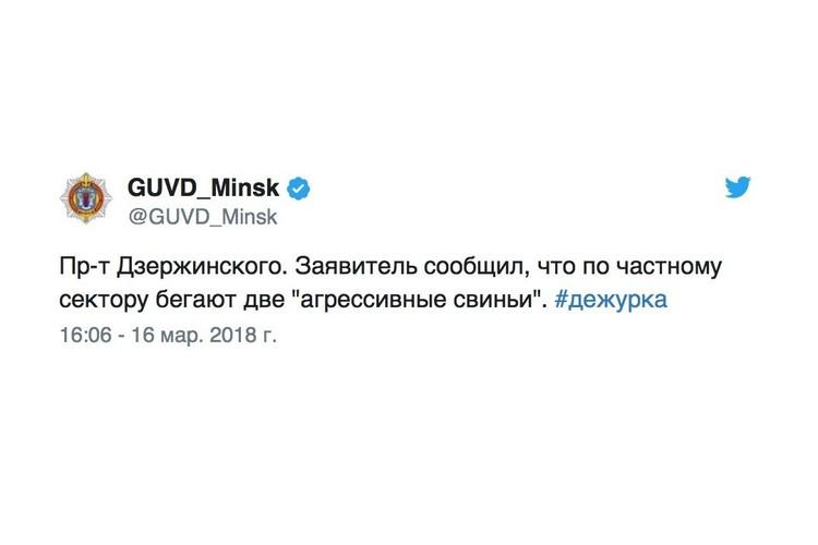 Сообщение в твиттере ГУВД Минска.