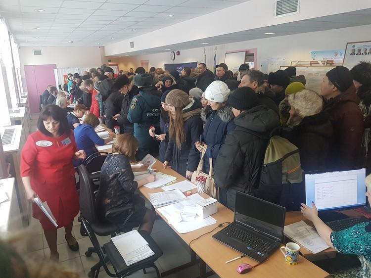 Очередь на выборном участке была такая, что смог проголосовать только через 45 мин с момента начала выборов в Анадыре.