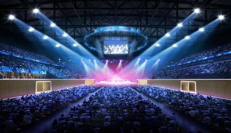 По проекту, для проведения концертов арена может трансформироваться в классический зрительный зал. Фото: УГМК