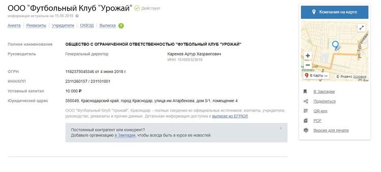 Данные о новом футбольном клубе Фото: скриншот с сайта www.rusprofile.ru