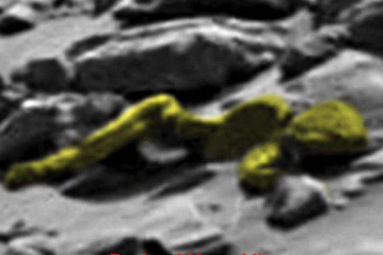 """Гуманоид со снимка """"Любопытства"""" - выделен цветом для наглядности."""