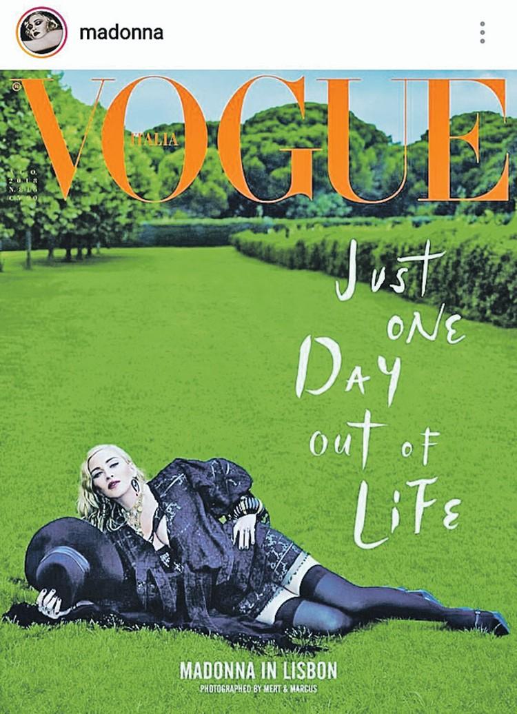 Накануне юбилея Мадонна снялась для обложки итальянского Vogue, доказав, что она по-прежнему готова эпатировать публику. Съемки проходили в старинном особняке в Лиссабоне, который 60-летняя певица купила за 6 миллионов евро и уже почти два года счастливо