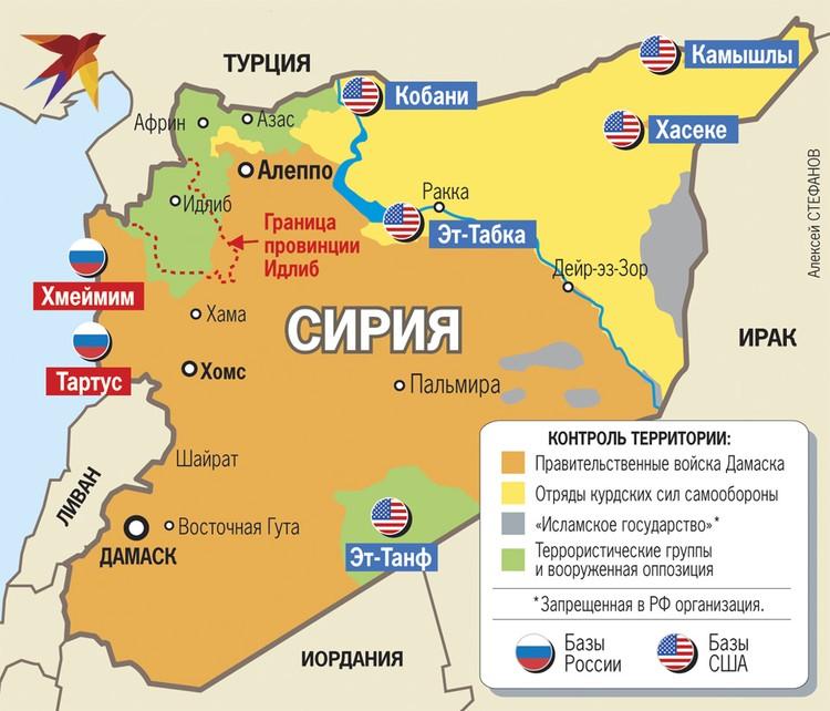Контроль территории в Сирии