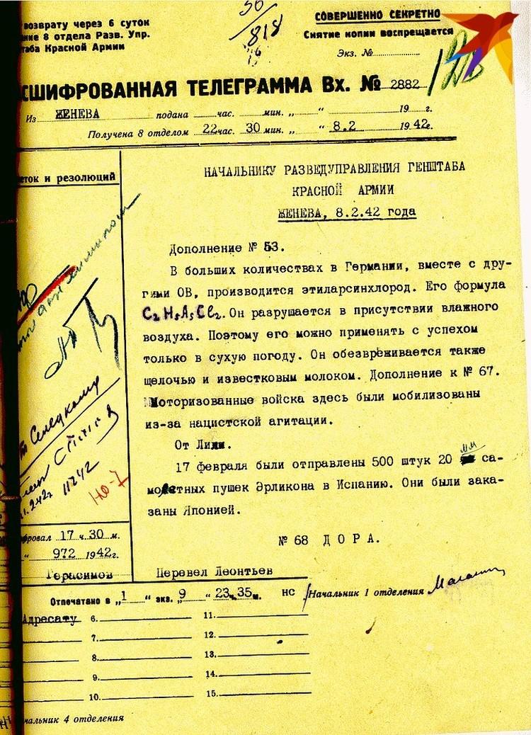 Донесение агента Дора о подготовке Германией химического оружия от 08.02.1942 г.