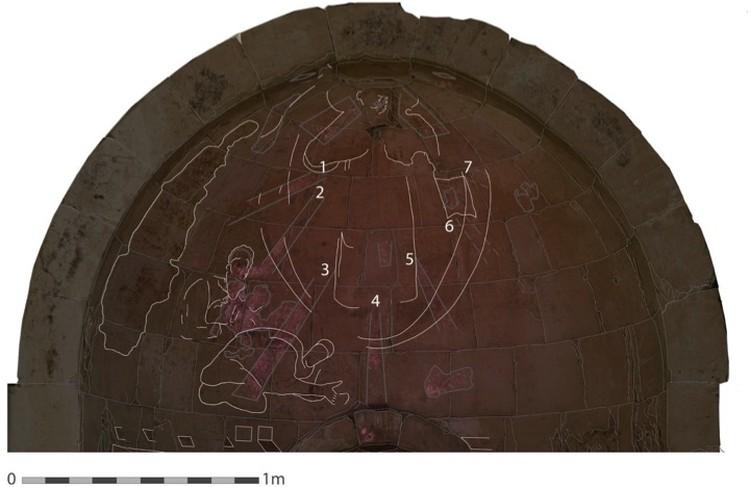 Фреска целиком. Цифрами археологи зачем-то обозначили лучи, пересекающие сцену Крещения.