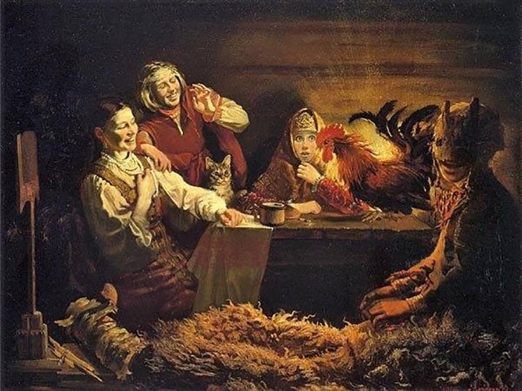 Часто гадали с петухом, как на этой картине Константина Маковского. Девушки рассыпали зерно, запускали петуха, а несклеванные им зерна подсчитывали: если получалось четное число – готовились к замужеству.