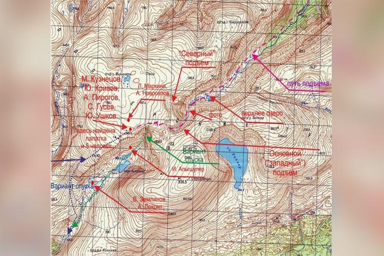 Карта, на которой указано место Чивруайской трагедии.
