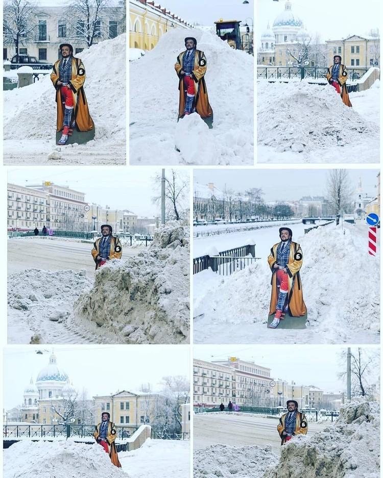 """Филипп Киркоров """"измерил"""" сугробы в Петербурге."""