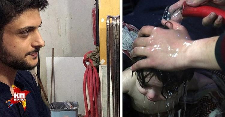 Шланг, из которого детишек поливали водой перед камерой. ФОТО Александр КОЦ + REUTERS