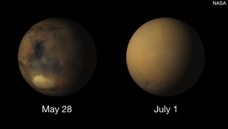 Пыльная буря, погубившая марсоход, мела по всей планете, скрывая ее поверхность от наблюдателей.