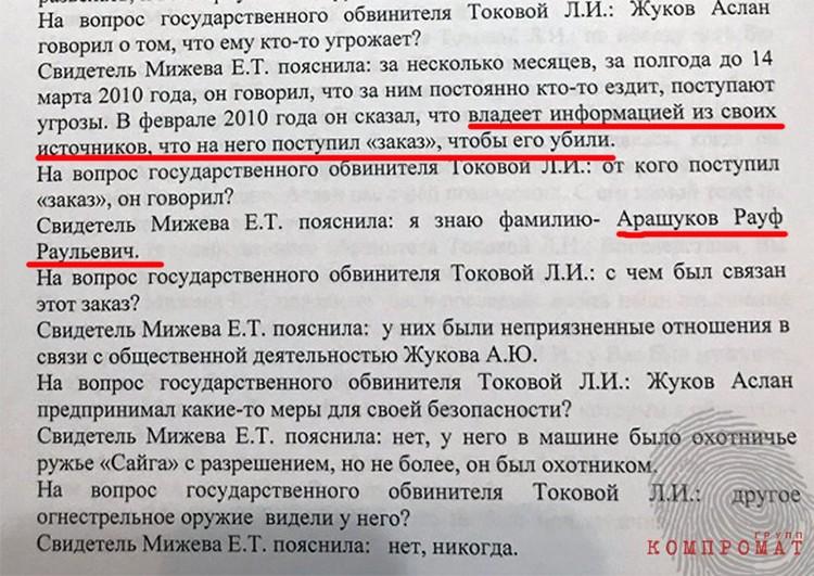 Подруга Аслана Жукова Лиза Мижева на суде прямо называла Арашукова заказчиком.