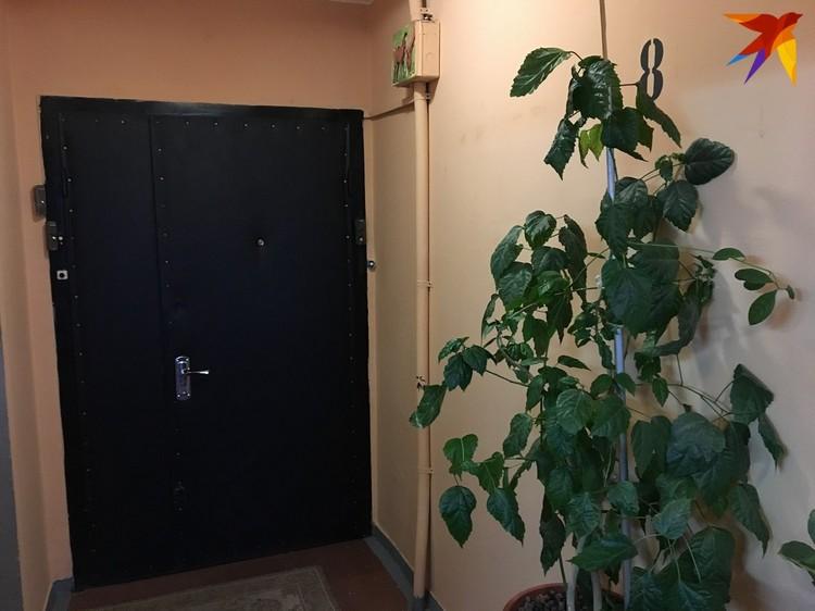 За этой дверью - секция из четырёх квартир. За неё сейчас не пускают, в трёшке Ирины сейчас работают специалисты СК