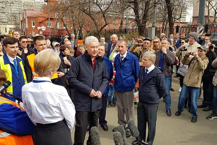 Парад трамваев 20 апреля посетил мэр Москвы Сергей Собянин