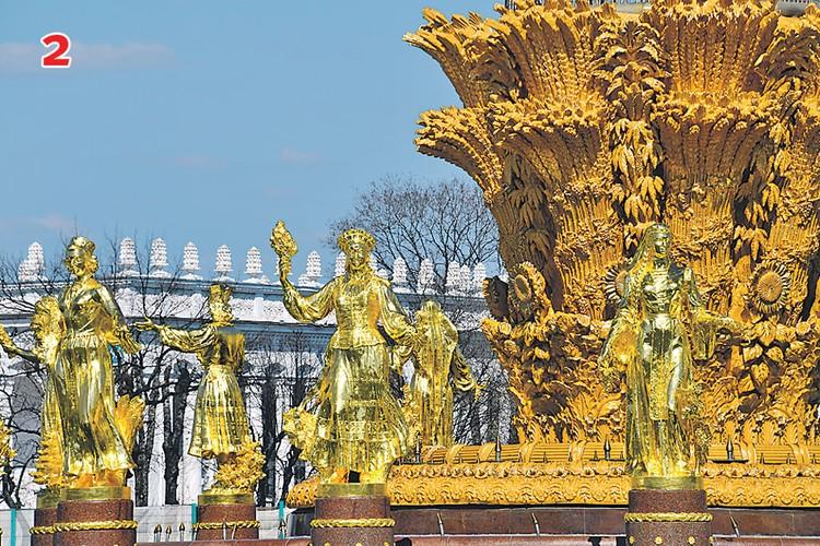 Скульптуры девушек фонтана «Дружба народов» давно так не сияли на солнце, как сейчас.