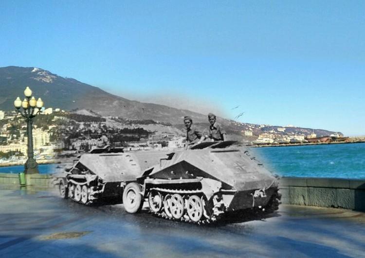 Тяжелую военную технику захватчики парковали у моря. Фото: Валентин Вербицкий