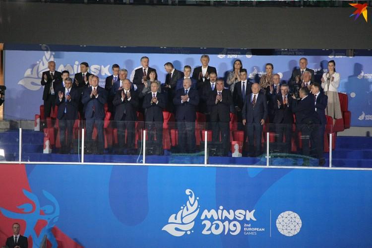 8.Вип-ложа во главе с Александром Лукашенко представлена президентами Армении, России, Таджикистана.