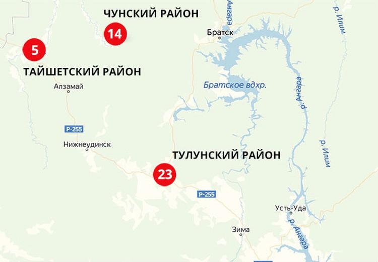 """Карта наводнений в Иркутской области по состоянию на 2 июля. В Тулунском районе затоплено 23 населенных пункта, в Чунском – 14, в Тайшетском – 5. Фото: """"Яндекс Карты"""""""