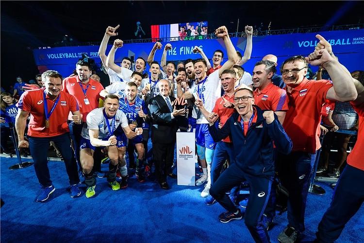 Мужская сборная России второй год подряд выигрывает Лигу наций. Фото: FIVB.com
