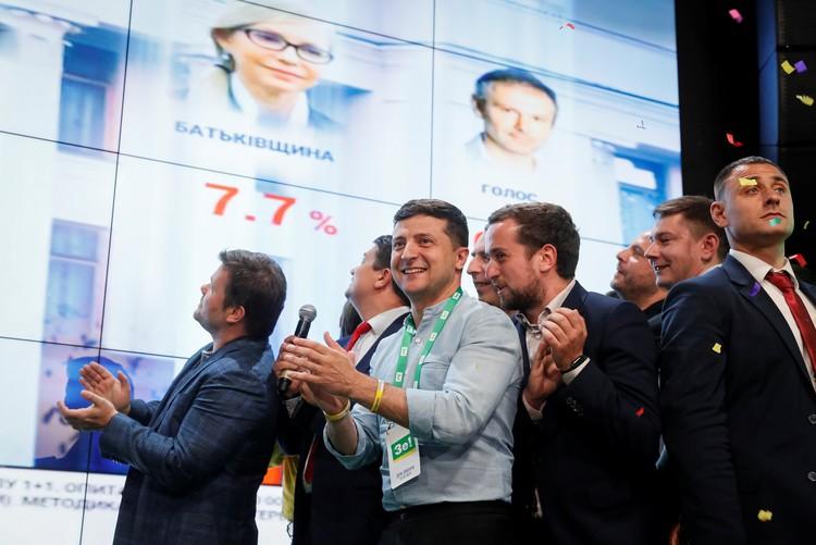 Партия нового президента Зеленского «Слуга народа» одержала убедительную победу