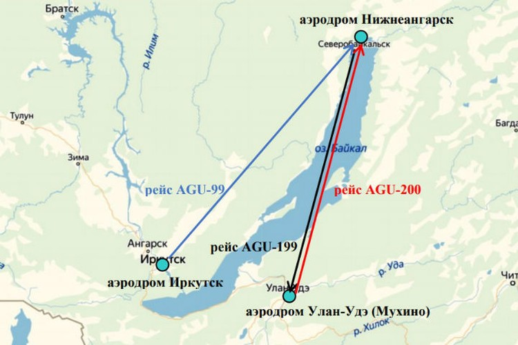 Схема полетов АН-24 26 и 27 июля. Фото: МАК.