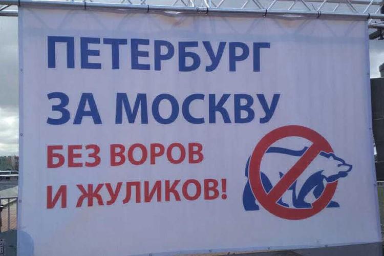 Плакат на митинге в Северной столице. Фото: Дмитрий Борисенко.
