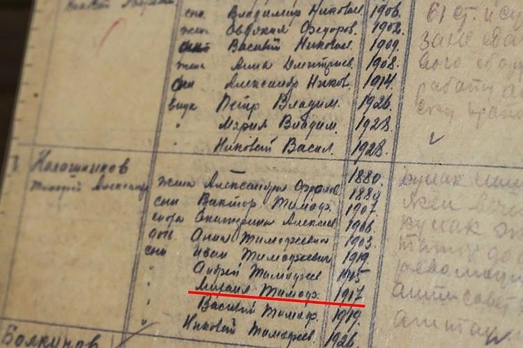 В копии документа, который хранится в музее Курьи, четко написано, что Михаил Тимофеевич Калашников родился в 1917 году. Фото: Ольга Кожемякина