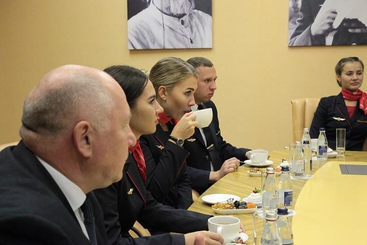 На встрече не присутствовал только второй пилот Георгий Мурзин. Он находится на больничном. Фото: Роскосмос