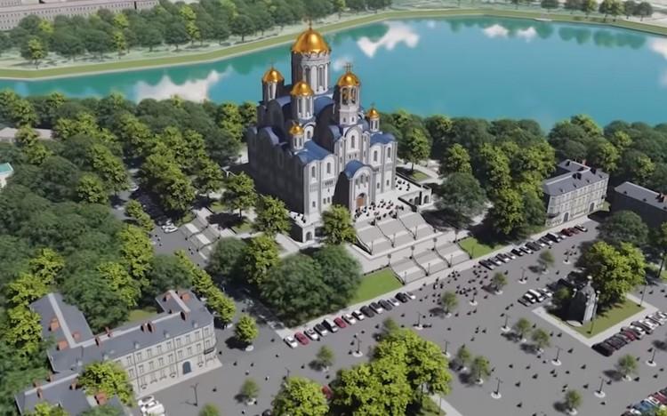 Так будет выглядеть собор, если его построят за Макаровским мостом. Фото: эскизы проекта