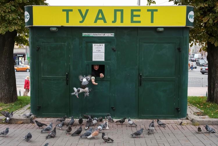 Работница платного туалета в центре Киева кормит голубей.