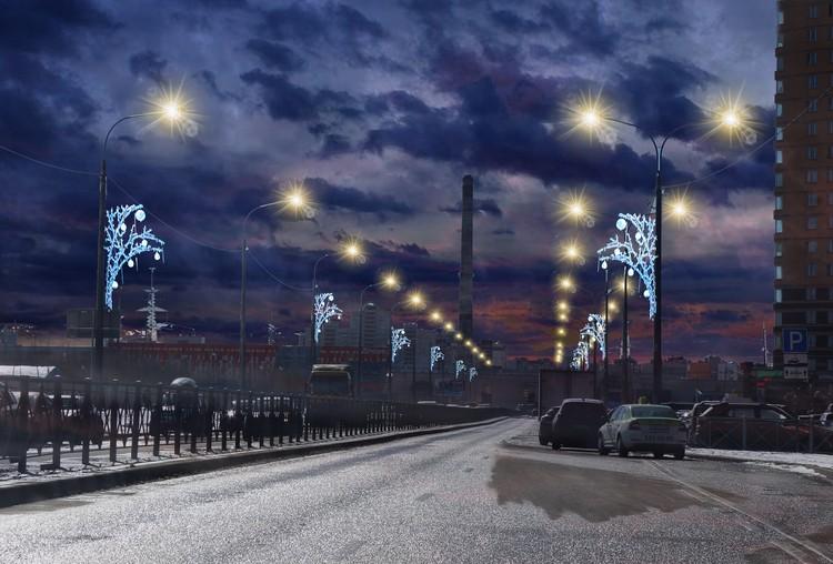 Новые украшения на улице Федора Абрамова в районе Парнас.