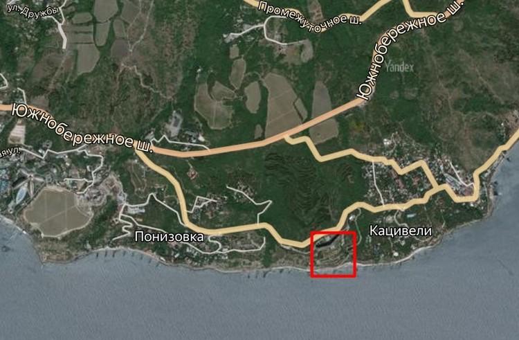 Красным выделена область, где будет игорная зона