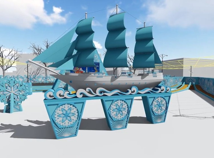Корабль, напоминающий о тех суднах, на которых российские мореплаватели открыли Антарктиду. Фото: администрация Екатеринбурга