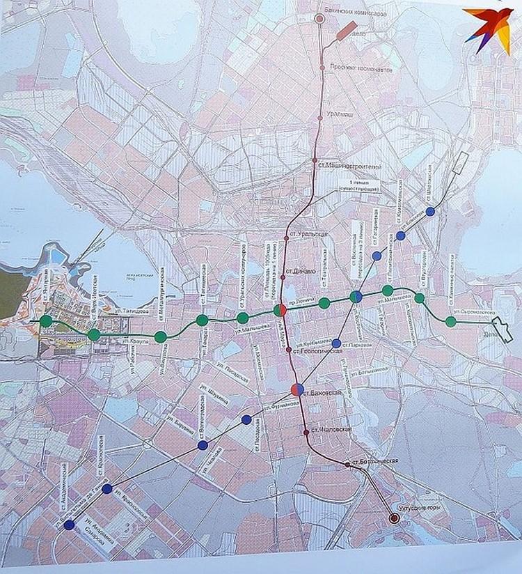 Схема трех веток Екатеринбургского метрополитена