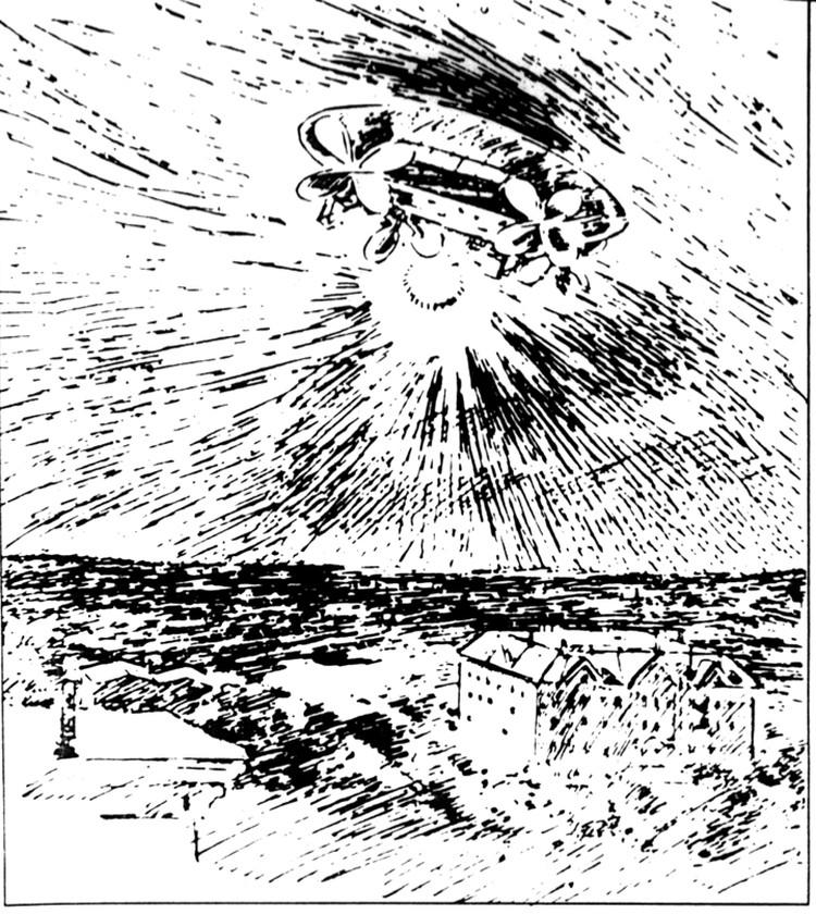 НЛО времен Первой мировой на рисунке одного из очевидцев.