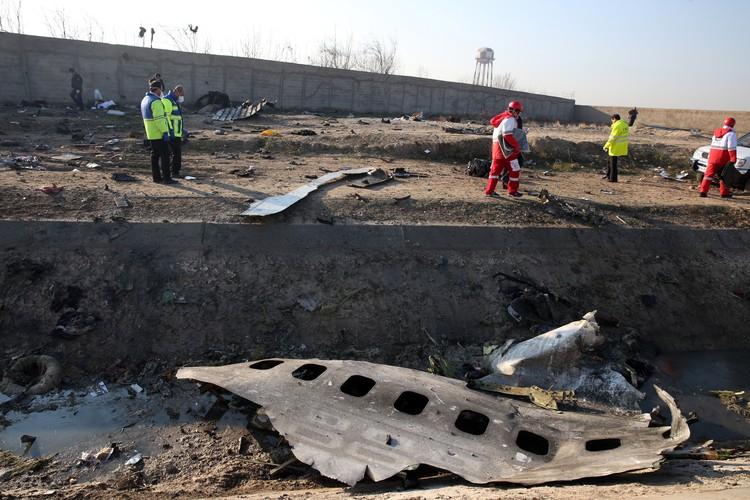 Обломки самолета разбросало на несколько километров от места удара о землю.EPA/ABEDIN TAHERKENAREH/ТАСС