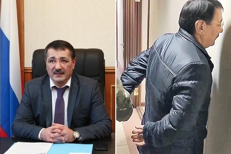 Шамиль Исаев в кресле министра и спиной к стене во время задержания